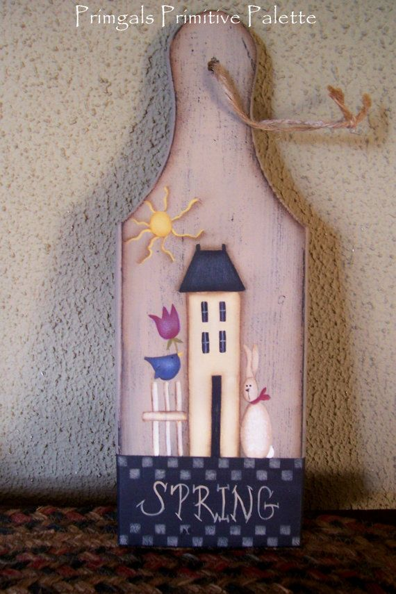 Spring Wood Paddle Saltbox House Bunny Tulips Primitive Country Home Decor Handpainted