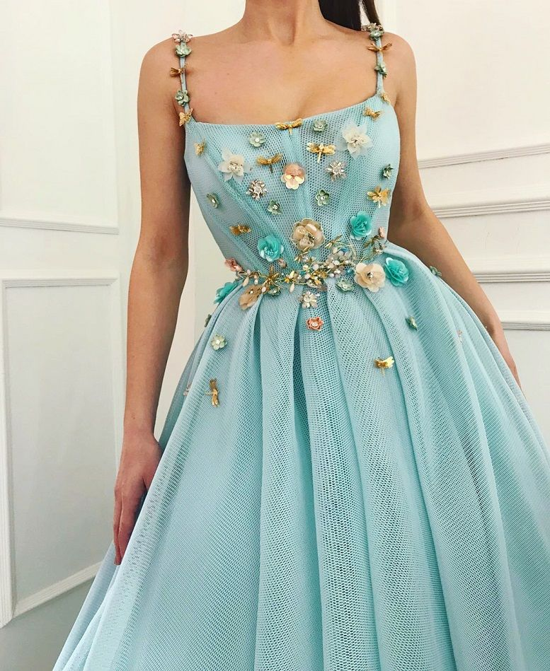 28 Prom Dresses That Will Make You The Prom Queen - Spaghetti strap light blue a line dress, Prom dress #promdress #bluedress