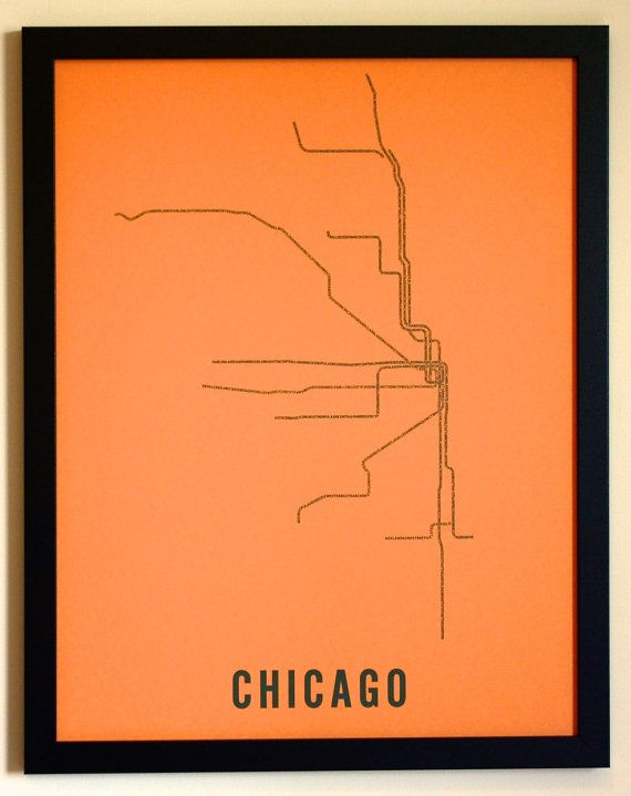 Chicago Typographic Transit Map Poster Orange by fadeoutdesign, $25.00