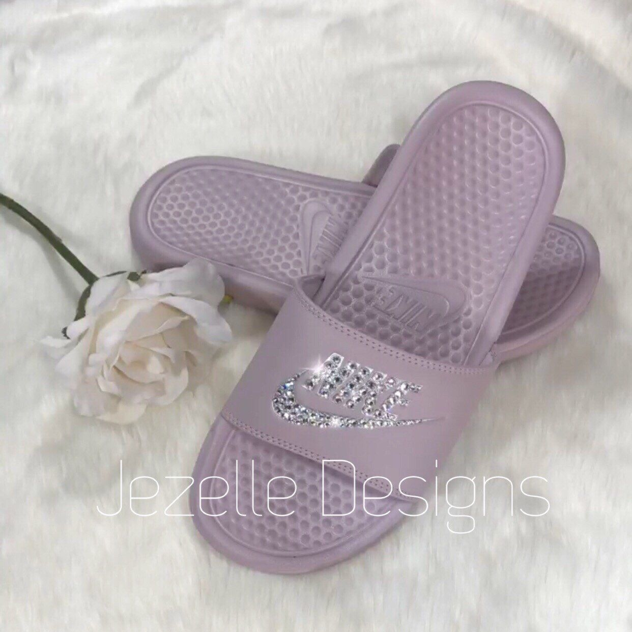 1e7d1586125f Swarovski Crystal Custom Hand Jeweled NIKE Slides by Jezelle Designs. 💎  Get yours in time for spring... it s just around the corner!