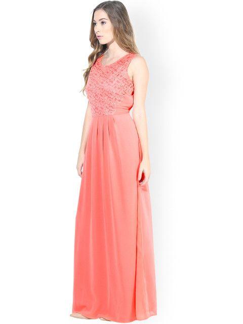 Buy La Zoire Peach Coloured Maxi Dress