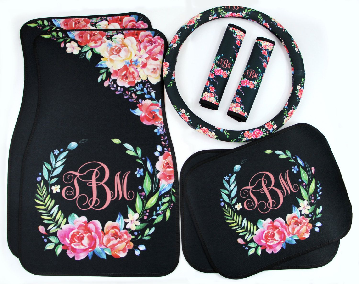 Floor mats dream cars - Classy Black Floral Car Accessories Mix Match Car Floor Mats Steering Wheel Cover Seat Belt Covers Personalized Custom Monogram Carmats
