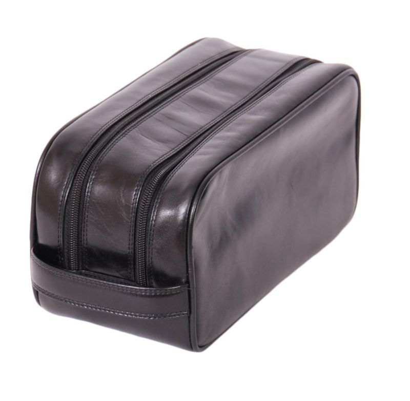 Mens real leather WASH BAG brown shaving kit toiletries cosmetic travel bag  NEW 45d1bfec07376