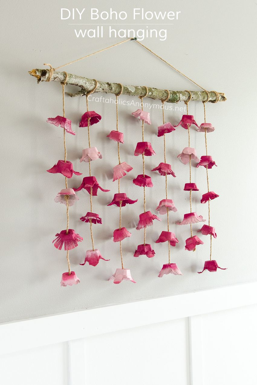 Boho flower wall hanging made from egg cartons wall for Egg carton room