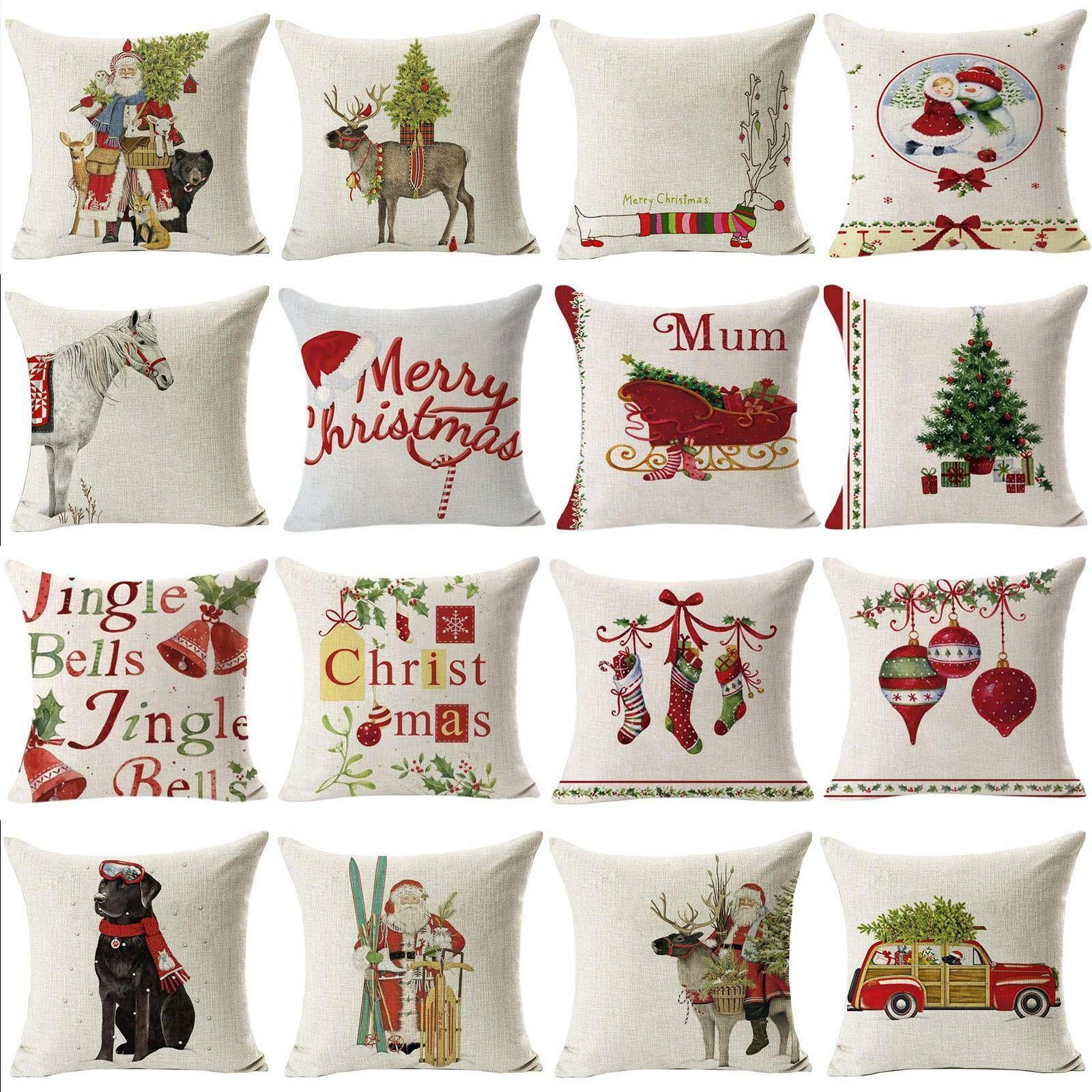 1818 Christmas Pillow Case Sofa Throw Cushion Covers Home Car Decor Xmas Party Sofa Cushions Ideas Of Sofa Cushions With Images Christmas Pillowcases Christmas Pillow