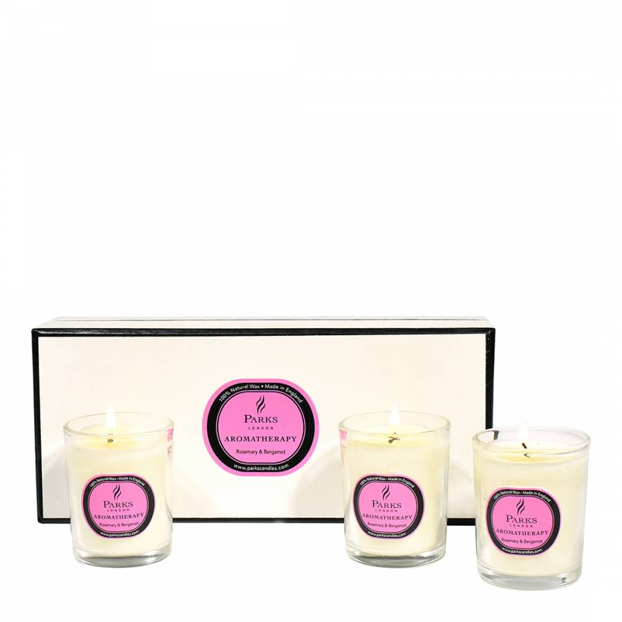 Parks London Set Of Three Rosemary Bergamot Aromatherapy Candle