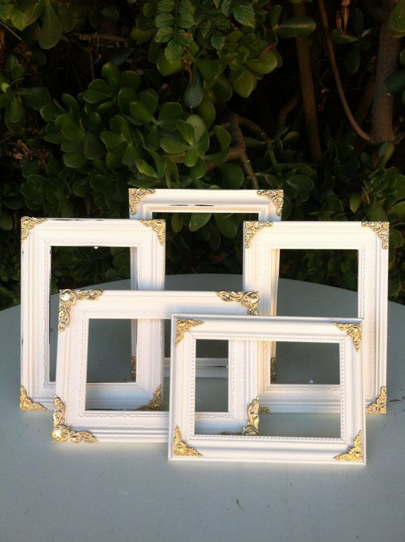 set of 5 ornate picture frames 5x7 4x6 baroque white gold