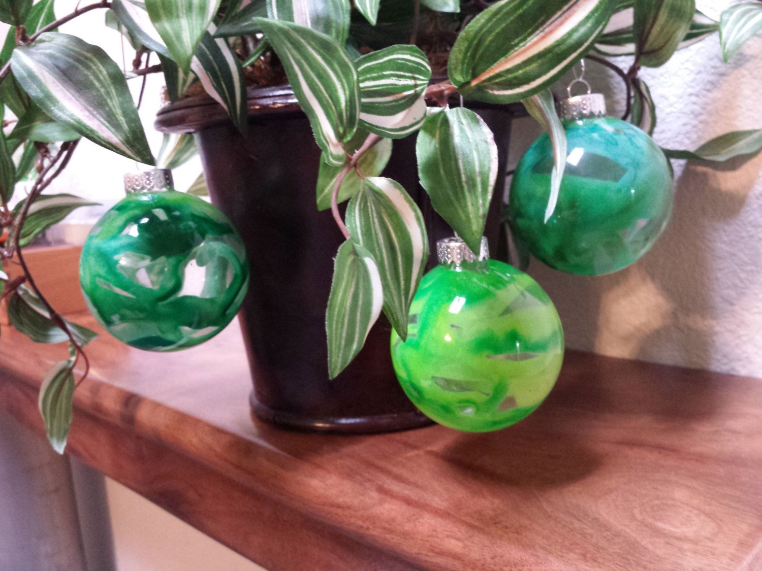 Items Similar To Set Of 6 Glass Ball Tye Dye Hippie Melted Wax Christmas  Ornaments On Etsy