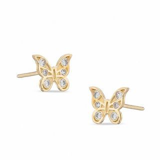Child S Cubic Zirconia Butterfly Stud Earrings In 10k Gold Piercing Pagoda In 2020 Butterfly Earrings Stud Stud Earrings Earrings