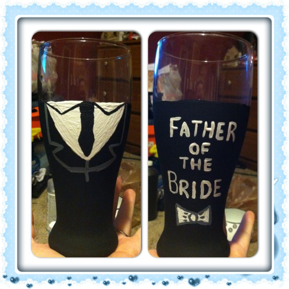 Father of the Bride beer glass hand painted