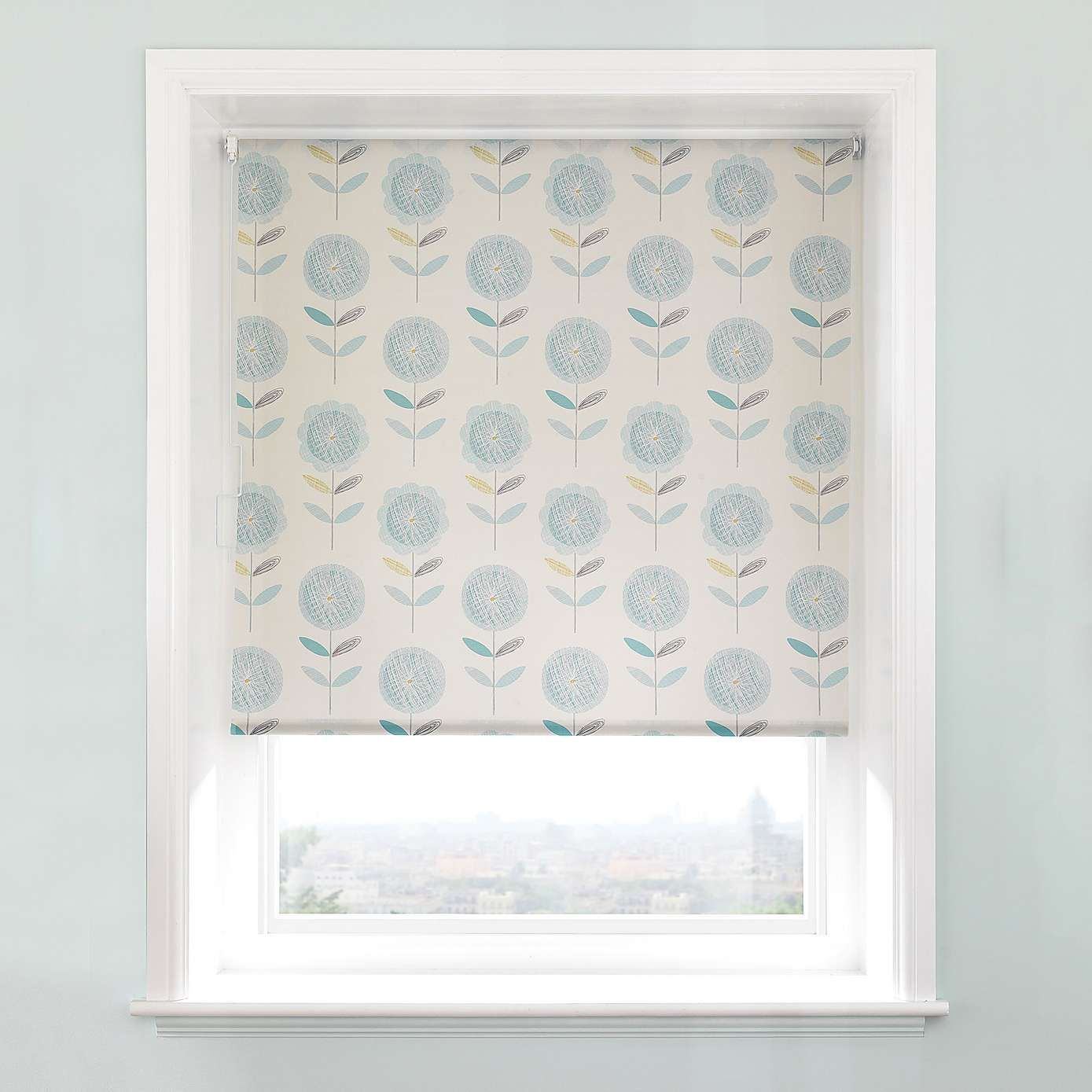 Elba Teal Floral Daylight Cordless Roller Blind