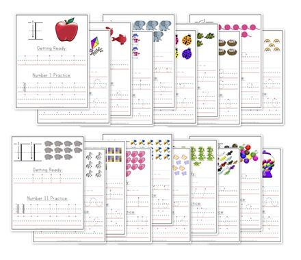 1-20 number writing practice worksheets | Handwriting & writing ...