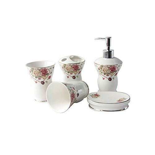 European Gold Ceramic 5 Pieces Bathroom Accessories Set Bathroom