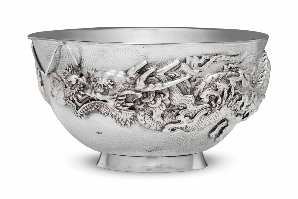 A JAPANESE SILVER 'DRAGON' BOWL AND LINERMEIJI PERIOD