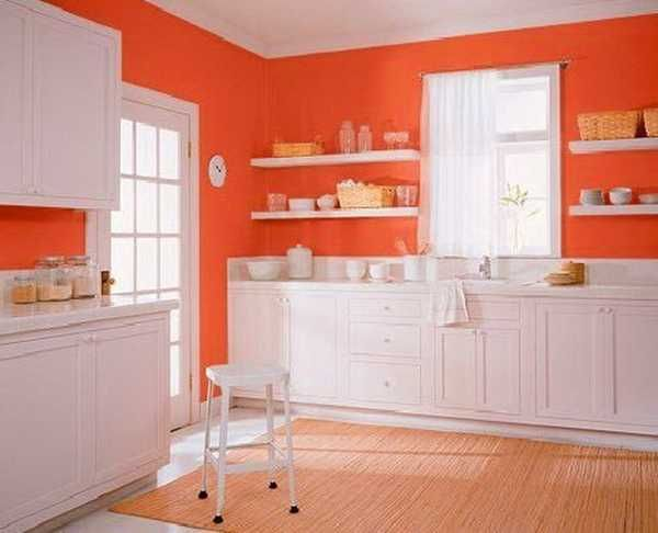 Superb Brighten Your Home With These Orange Kitchen Designs: Charming Orange  Kitchen Design Idea With White Kitchen Cabinet And White Wall Shelves Also  Orange Wall ...
