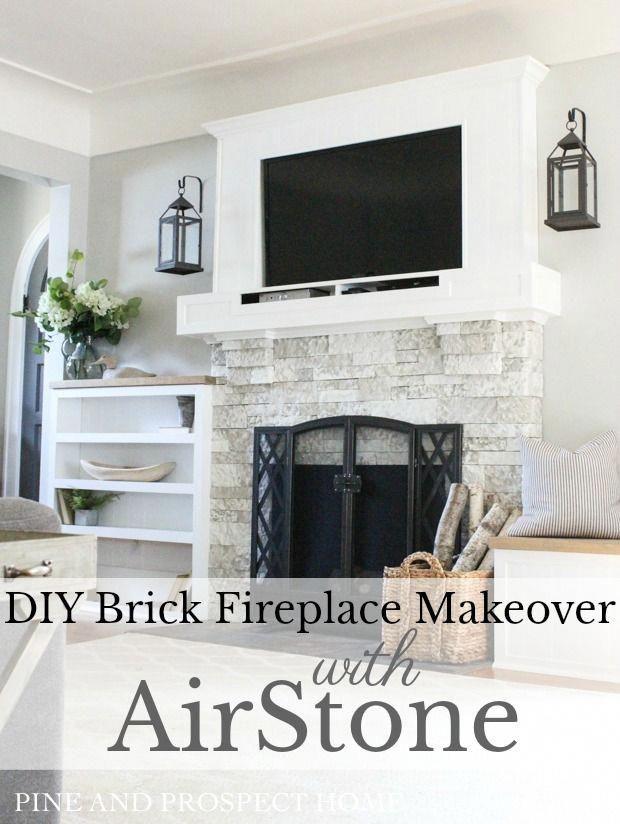 Brick Fireplace Makeover with AirStone #decoratingfireplacediy