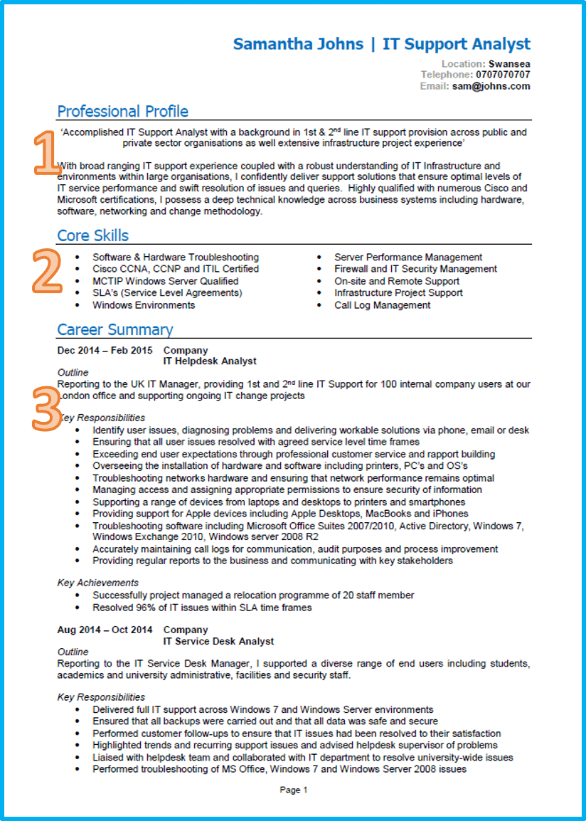 Example of a good CV | Job planner | Cv template uk, Resume ...