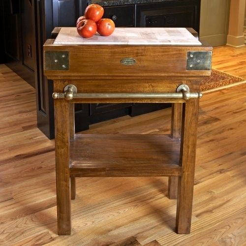 De Kercoet French Butcher Block Island with Brass Fittings - $1,199.99 J Rustic kitchen ...