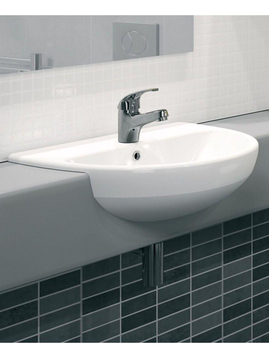 Twyford E100 Round 550 Semi Recessed Basin 1Th  Bathroom Beauteous Small Bathroom Sinks Uk Design Decoration
