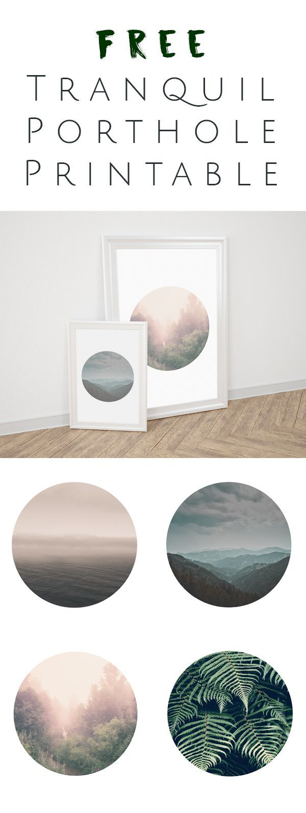 FREE Printable - Tranquil Porthole Wall Art will make any home ...