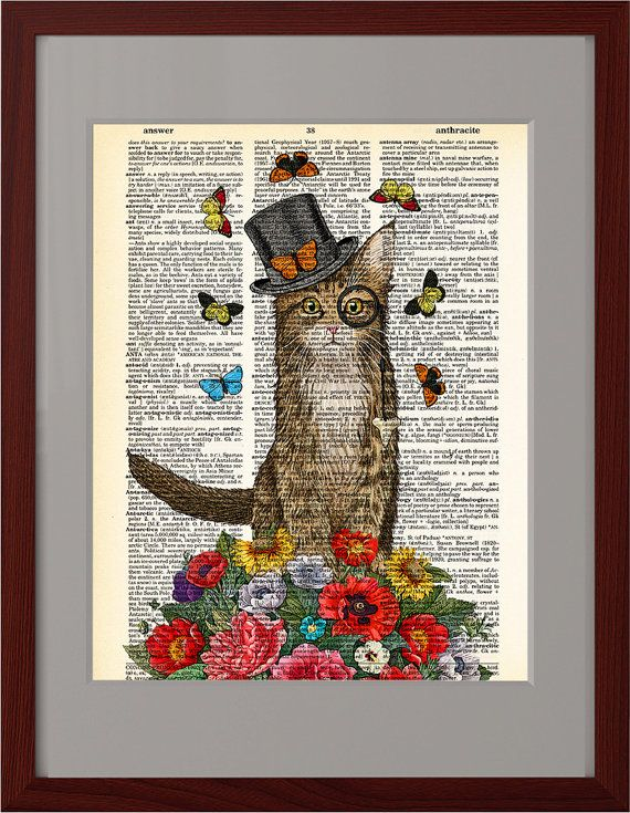 Cat on Weekend art print, Colorful flowers poster, Cat top hat, Dictionary Print  poster, Dorm decor, Home Wall decor, gift poster, CODE/206
