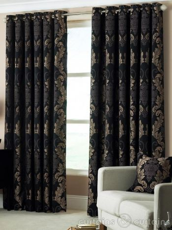 black and gold bedroom curtains Damask Black & Gold Heavy Luxury Designer Eyelet Curtain