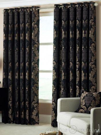 Damask Black Gold Heavy Luxury Designer Eyelet Curtain Luxury