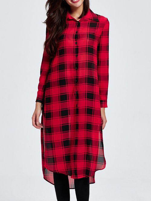 929658c768c Side Slit Checked Shirt Collar Long Sleeve Shirt | WOMENS SHIRT ...