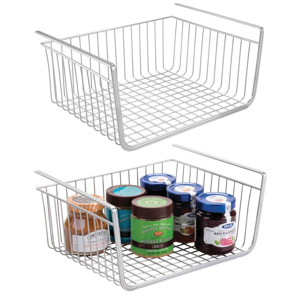 Metal Under Shelf Hanging Kitchen Pantry Shelf Storage Basket Organizer In Chrome 13 X 10 X 6 By Mdesign In 2020 Under Shelf Storage Storage Shelves Storage Baskets