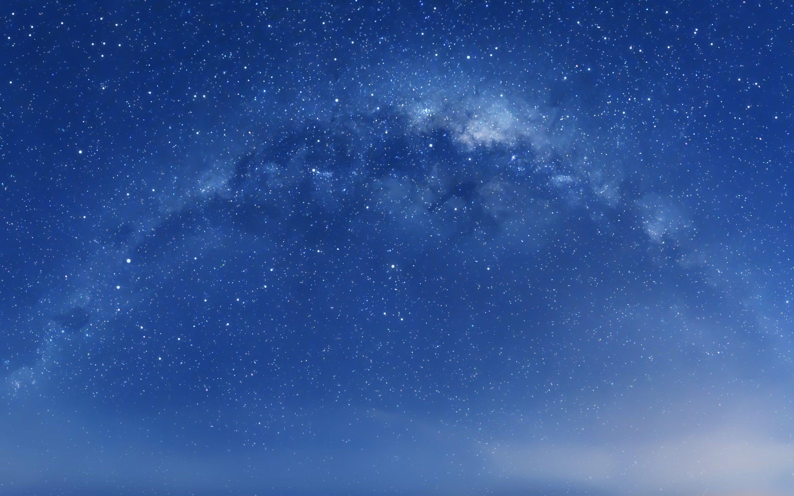 Blue Cloudy Sky With Stars Illustration Space Art Space Digital Art Stars 2k Wallpaper Hdwallpaper Deskt Retina Wallpaper Mac Wallpaper Android Wallpaper