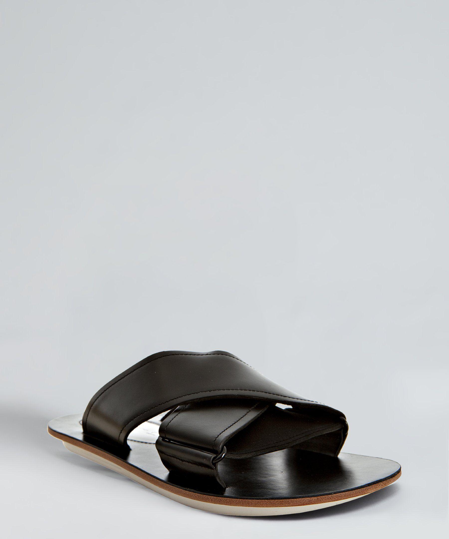 1e474a01711d Y-3 Yohji Yamamoto Adidas black leather  Hikari  sandals