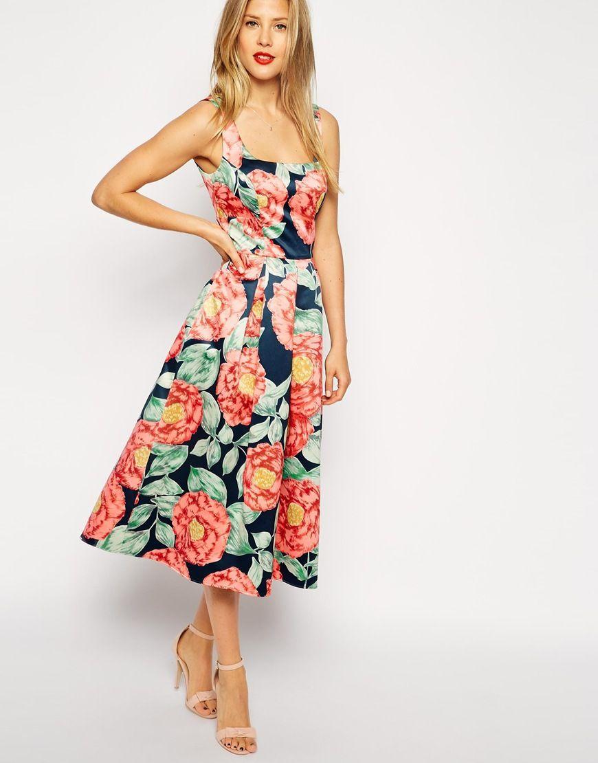 Asos Structured Midi Dress In Vintage Floral At Asos Com Dresses Midi Dress Fashion [ 1110 x 870 Pixel ]