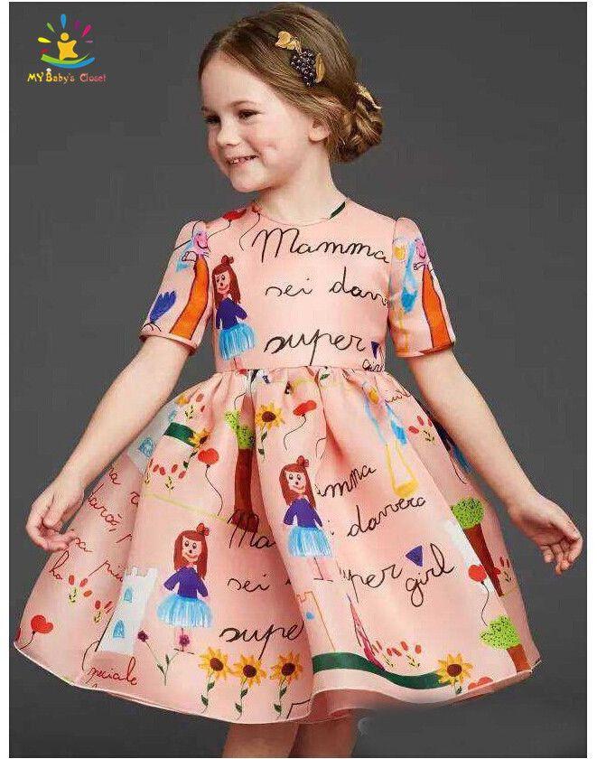 e4bd6543cb9 High End Luxury Designer Cute Letter Print Baby Girl Dress Children ...