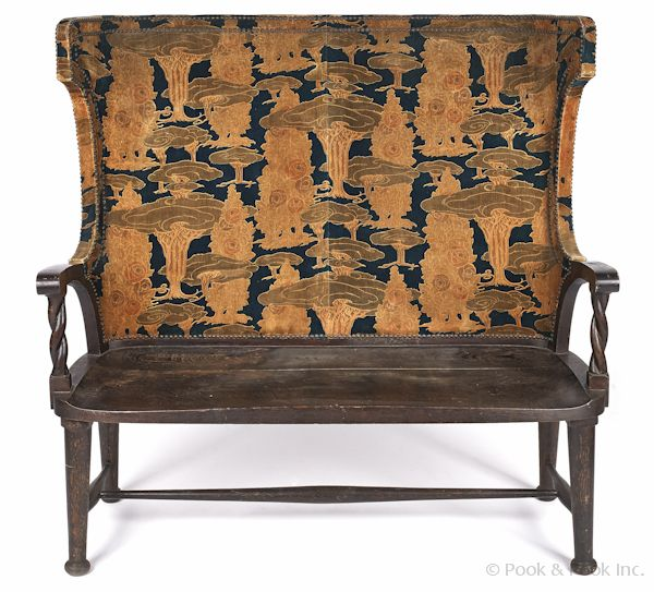Oak Settle Bench, Early 20th C., With An Art Nouveau Style Upholstered Back
