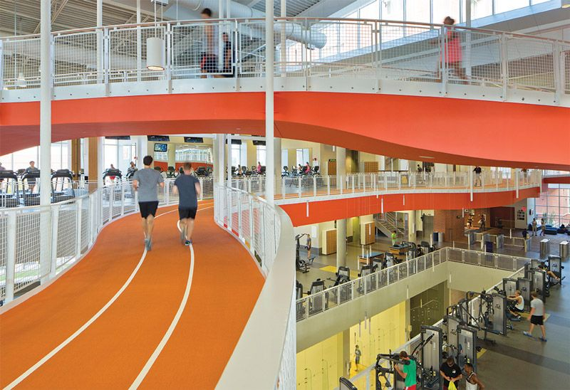 Making Tracks A Focal Point Of Recreation Center Design Athletic Business Archi Sports