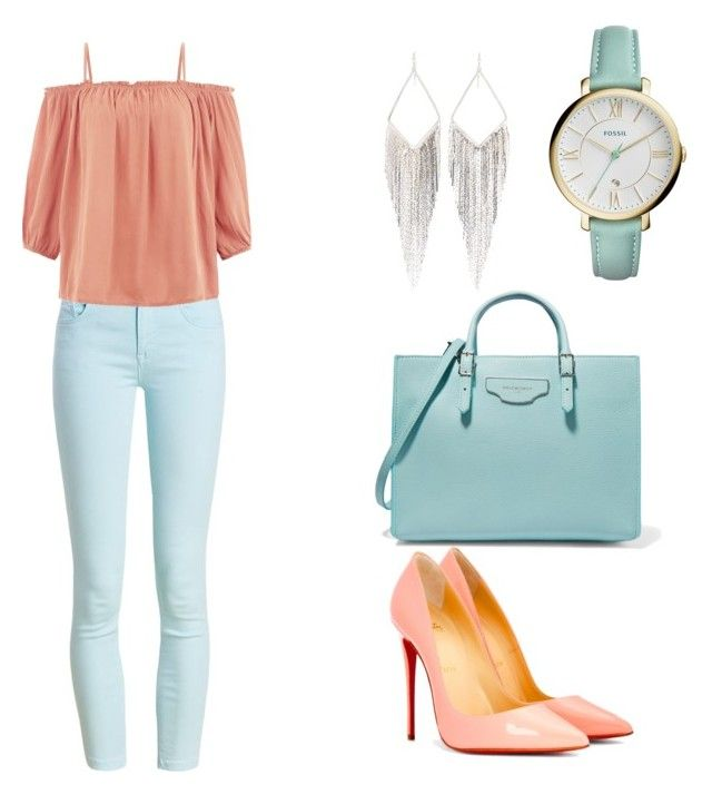 """""""pink&blueRoses"""" by queenkayy-25 on Polyvore featuring Barbour, New Look, Christian Louboutin, Balenciaga, FOSSIL and Jules Smith"""