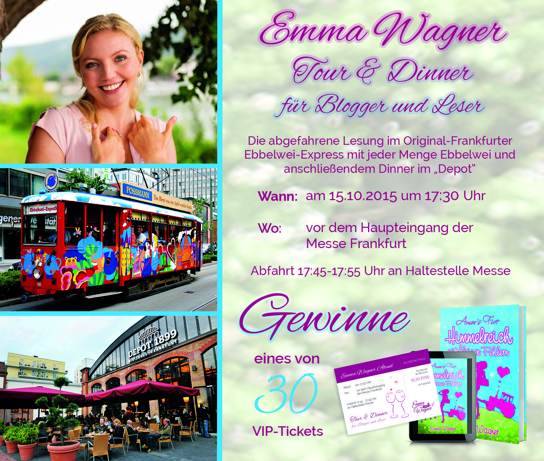 Gewinnspiel: VIP-Tickets für Emma Wagner Ebbelwei-Lesung & Dinner zu gewinnen unter www.facebook.com/AutorinEmmaWagner