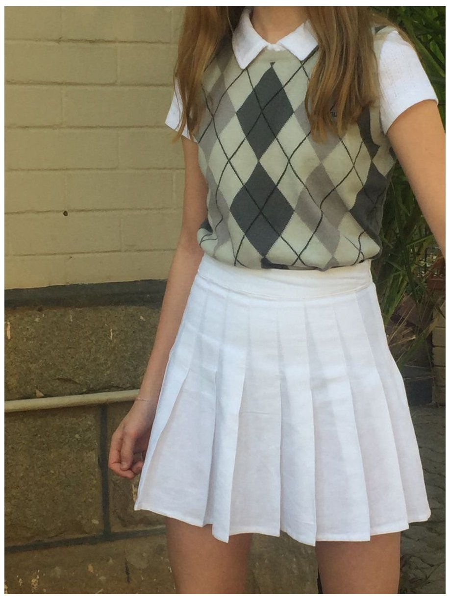 sweater vest outfit skirt