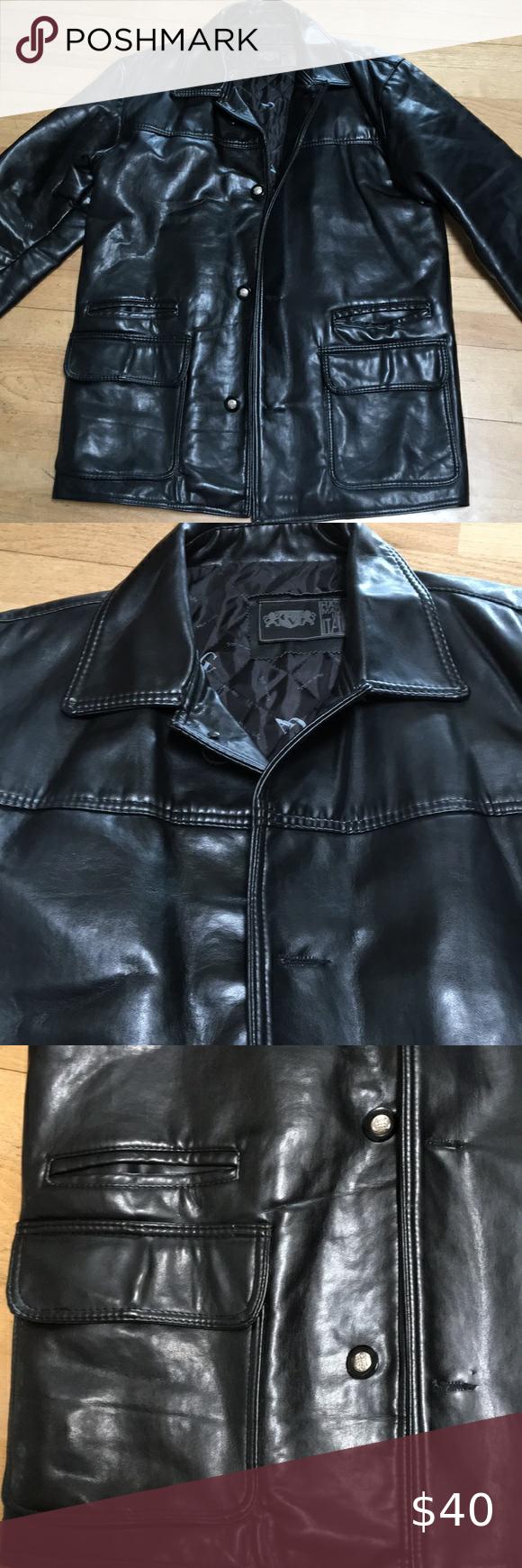 Men S Black Faux Leather Coat Jacket Made Italy L Leather Coat Jacket Faux Leather Coat Leather Coat [ 1740 x 580 Pixel ]