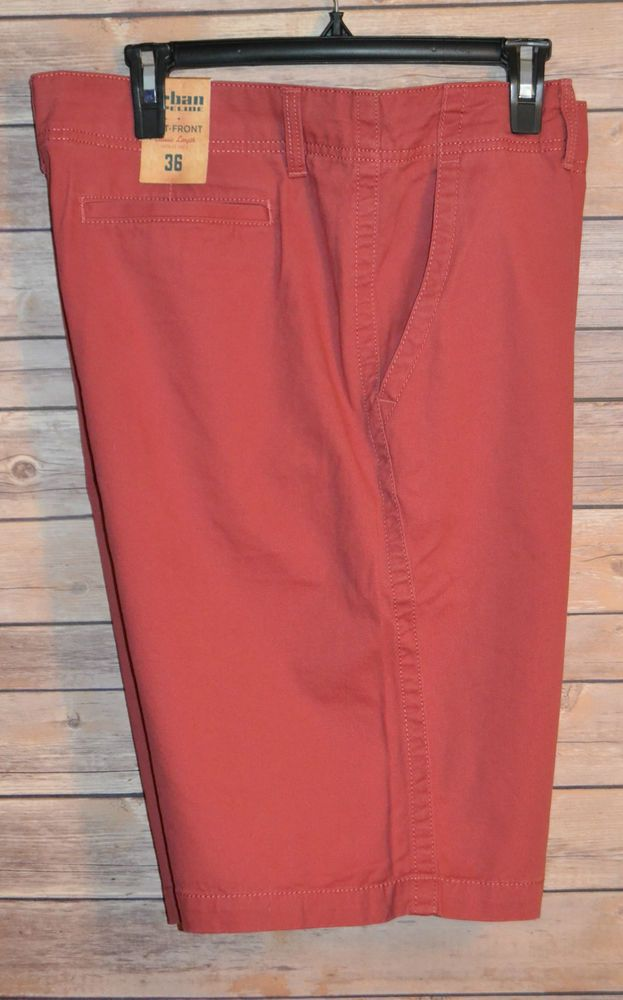 Urban Pipeline Men's Shorts Flat Front Classic Length Red Relaxed ...