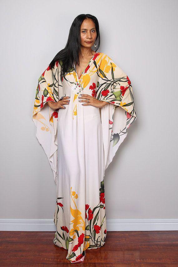 robe caftan robe longue fleurie funky l gante par. Black Bedroom Furniture Sets. Home Design Ideas