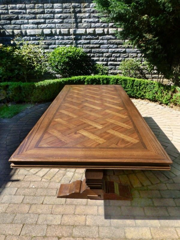Parquetry Table With Criss Cross Inlay Design