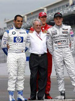 Bernie Ecclestone Poses With Juan Pablo Montoya Michael