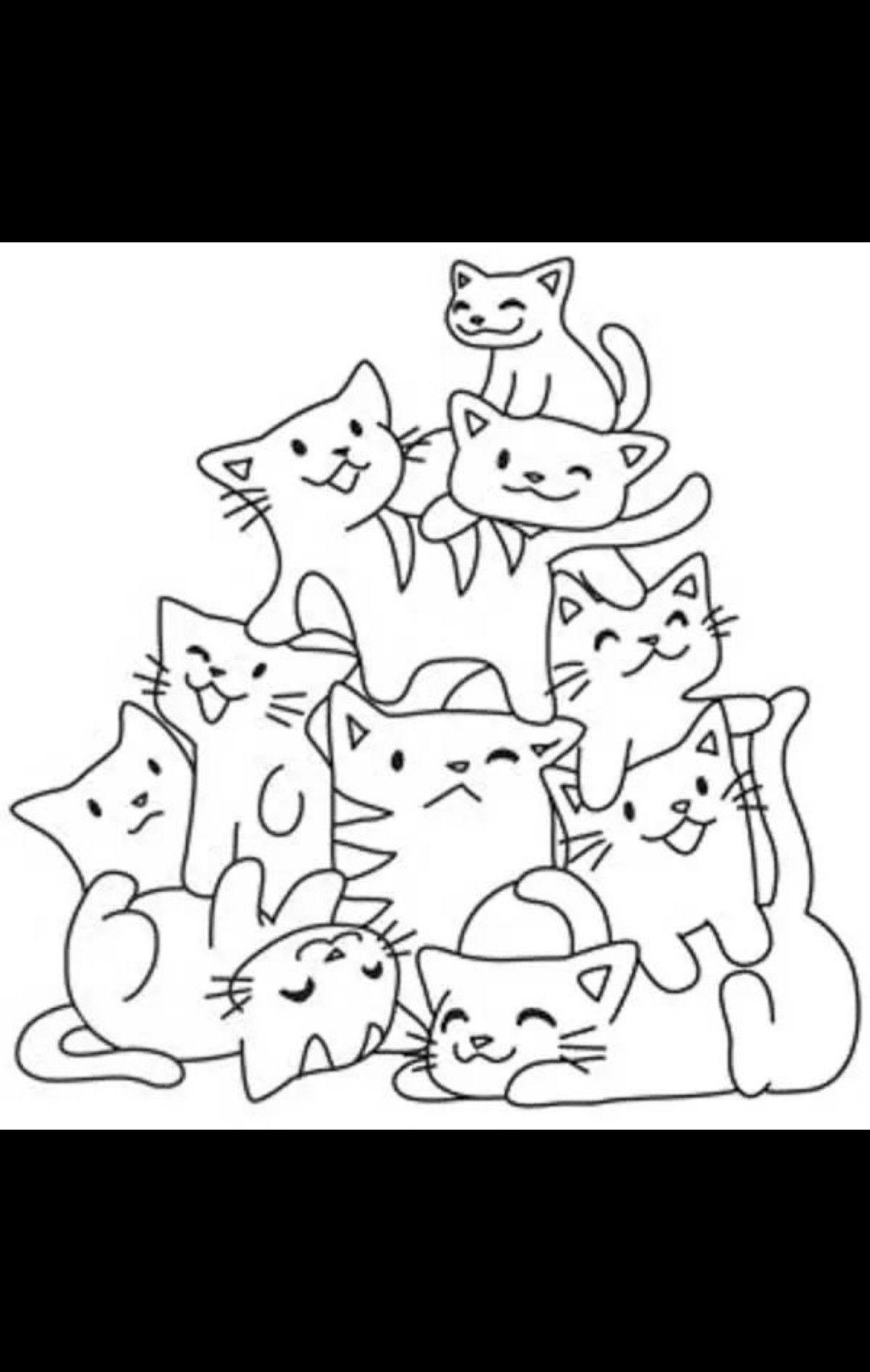 Gatitos Gatos Para Pintar Gatito Para Colorear Patrones De Bordado