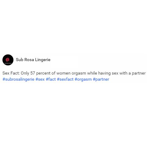 Percent of women orgasm
