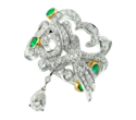 Gilan, Grand Pheasants Ring White gold with emeralds and white diamonds.