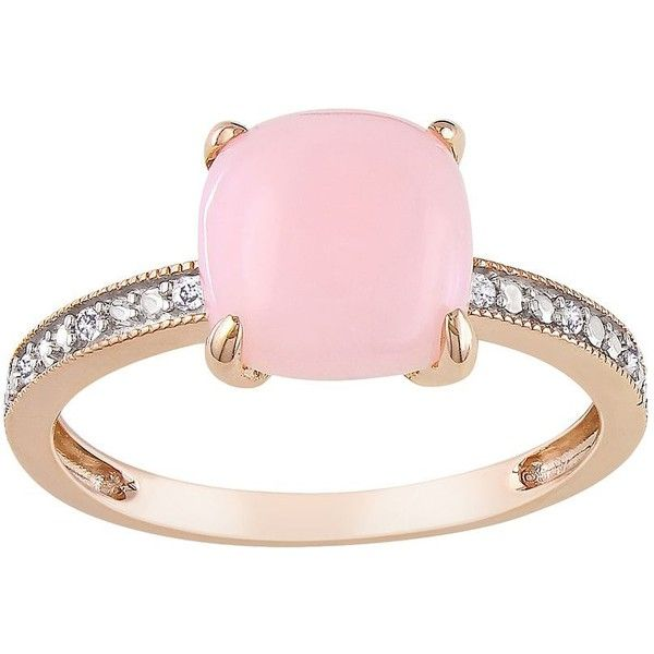 10k Rose Gold Pink Opal and Diamond Accent Ring 236 liked on