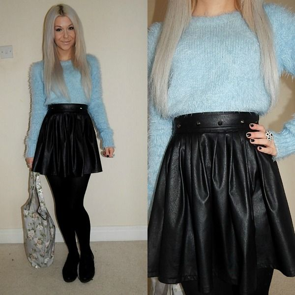 OOTD featuring a fluffy crop jumper & leather skirt. Full post at ...