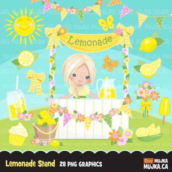 Lemonade Stand Clipart Cute Spring Summer Birthday Graphics Lemons
