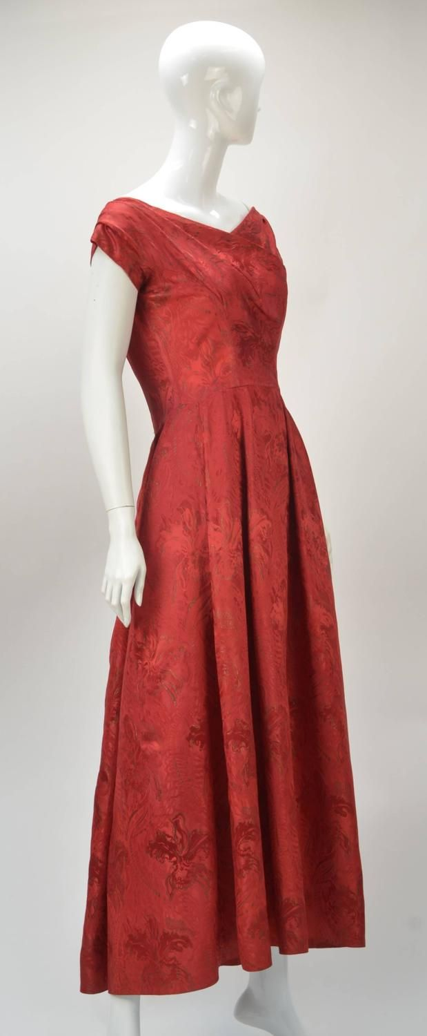 Late 1950s Yves Saint Laurent for Christian Dior Ball Gown | Red ...
